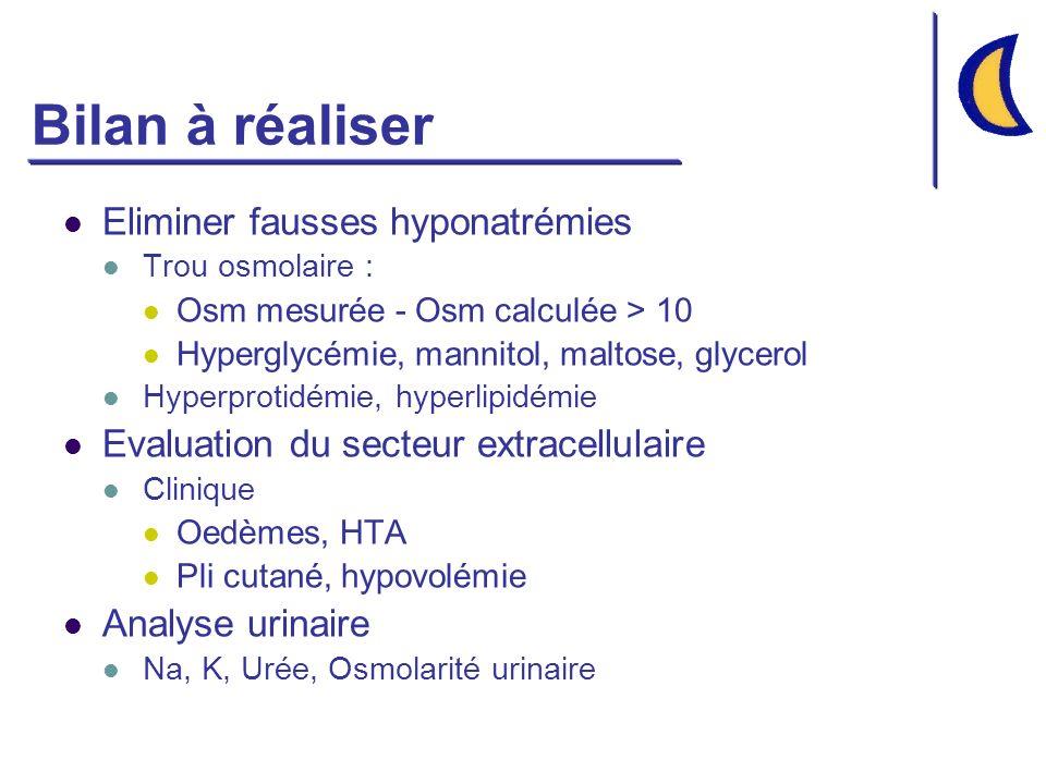 Bilan à réaliser Eliminer fausses hyponatrémies Trou osmolaire : Osm mesurée - Osm calculée > 10 Hyperglycémie, mannitol, maltose, glycerol Hyperproti