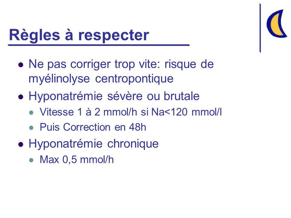 Règles à respecter Ne pas corriger trop vite: risque de myélinolyse centropontique Hyponatrémie sévère ou brutale Vitesse 1 à 2 mmol/h si Na<120 mmol/l Puis Correction en 48h Hyponatrémie chronique Max 0,5 mmol/h