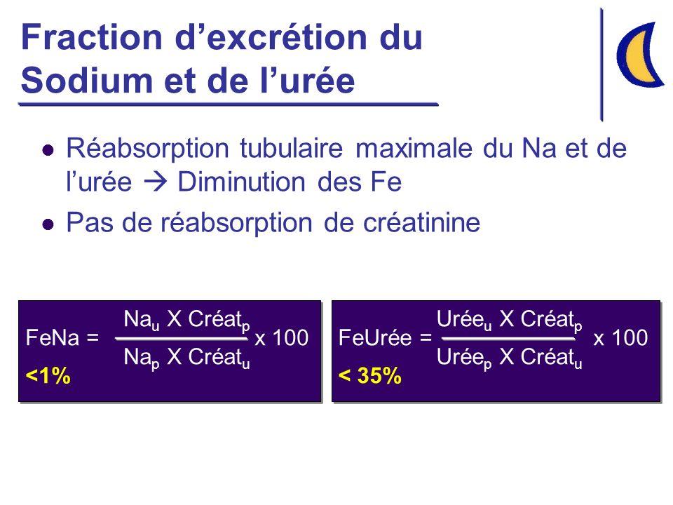 Fraction dexcrétion du Sodium et de lurée Réabsorption tubulaire maximale du Na et de lurée Diminution des Fe Pas de réabsorption de créatinine Na u X Créat p FeNa = x 100 Na p X Créat u <1% Urée u X Créat p FeUrée = x 100 Urée p X Créat u < 35%