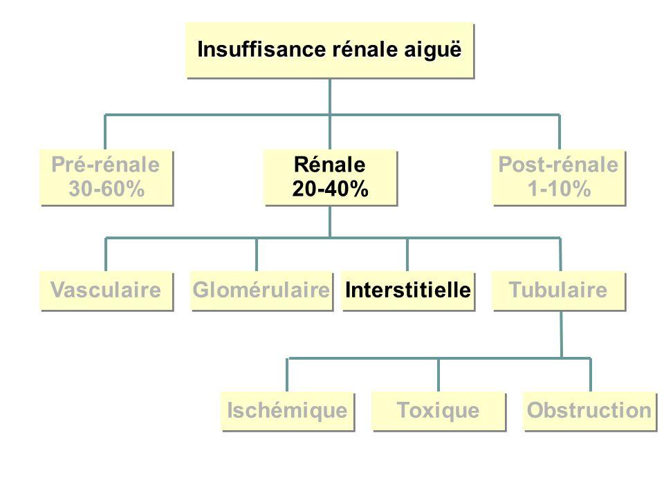 Insuffisance rénale aiguë Pré-rénale 30-60% Pré-rénale 30-60% Rénale 20-40% Rénale 20-40% Post-rénale 1-10% Post-rénale 1-10% Vasculaire Glomérulaire