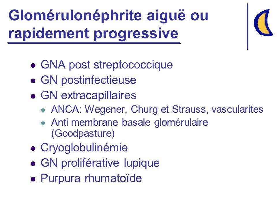 Glomérulonéphrite aiguë ou rapidement progressive GNA post streptococcique GN postinfectieuse GN extracapillaires ANCA: Wegener, Churg et Strauss, vas