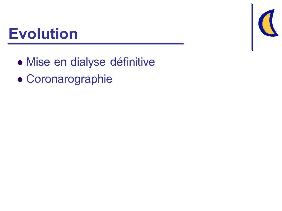 Cas clinique Examens complémentaires ASP: Normal RP: RAS Echographie rénale 2 reins de taille normale (11 cm), symétriques, morphologie normale Pas dobstacle sur les voies excrétrices Urines Protéinurie +++ Hématurie 0 Na 50 mmol/l K 44 mmol/l Urée 120 mmol/l