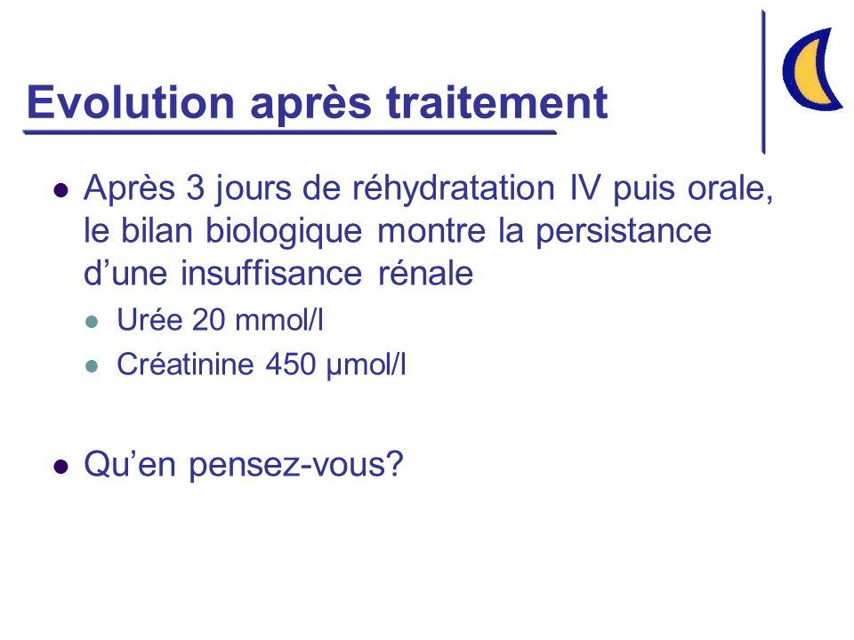 Evolution après traitement Après 3 jours de réhydratation IV puis orale, le bilan biologique montre la persistance dune insuffisance rénale Urée 20 mmol/l Créatinine 450 µmol/l Quen pensez-vous?