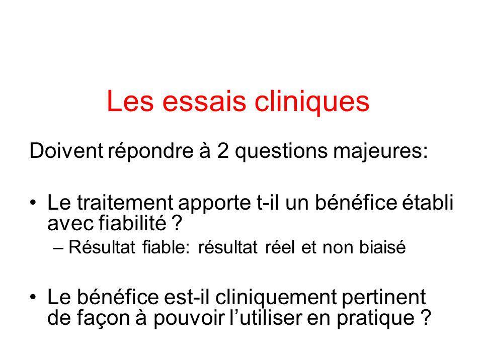 Les essais cliniques Doivent répondre à 2 questions majeures: Le traitement apporte t-il un bénéfice établi avec fiabilité .