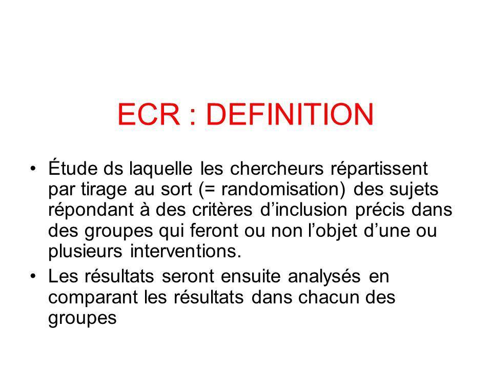 ECR : DEFINITION Étude ds laquelle les chercheurs répartissent par tirage au sort (= randomisation) des sujets répondant à des critères dinclusion précis dans des groupes qui feront ou non lobjet dune ou plusieurs interventions.