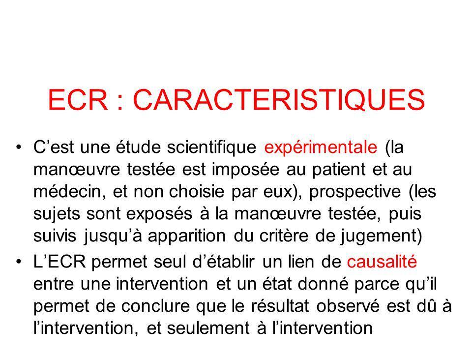 Cest une étude scientifique expérimentale (la manœuvre testée est imposée au patient et au médecin, et non choisie par eux), prospective (les sujets sont exposés à la manœuvre testée, puis suivis jusquà apparition du critère de jugement) LECR permet seul détablir un lien de causalité entre une intervention et un état donné parce quil permet de conclure que le résultat observé est dû à lintervention, et seulement à lintervention ECR : CARACTERISTIQUES