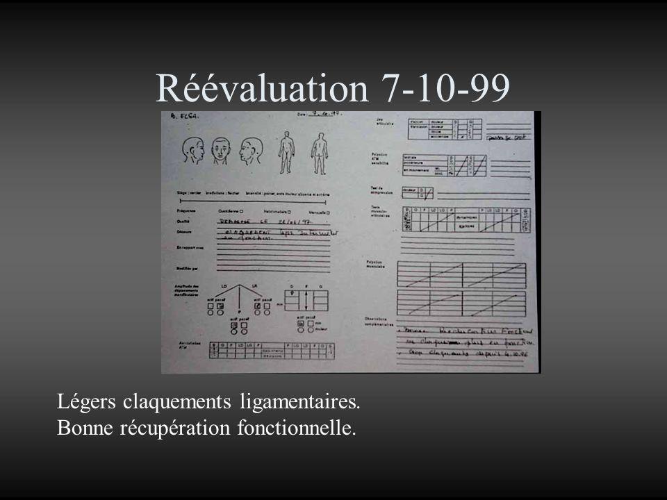 Réévaluation 7-10-99 Légers claquements ligamentaires. Bonne récupération fonctionnelle.
