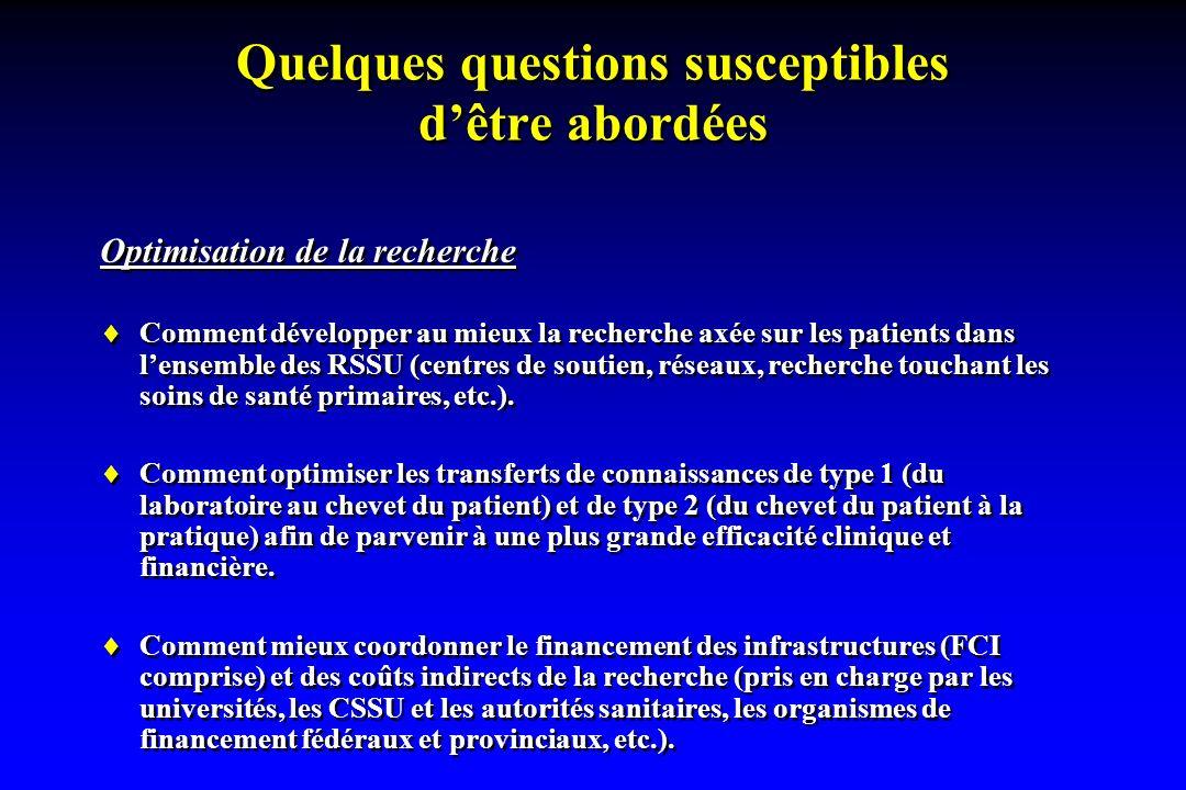 Quelques questions susceptibles dêtre abordées Optimisation de la recherche Comment développer au mieux la recherche axée sur les patients dans lensemble des RSSU (centres de soutien, réseaux, recherche touchant les soins de santé primaires, etc.).