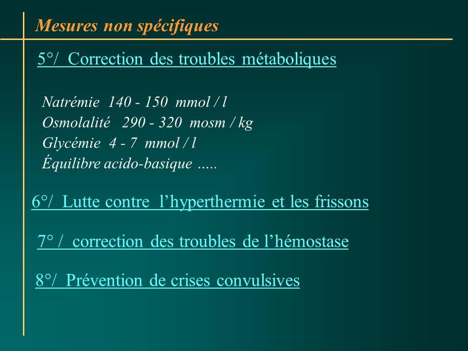 Mesures non spécifiques 5°/ Correction des troubles métaboliques Natrémie 140 - 150 mmol / l Osmolalité 290 - 320 mosm / kg Glycémie 4 - 7 mmol / l Éq