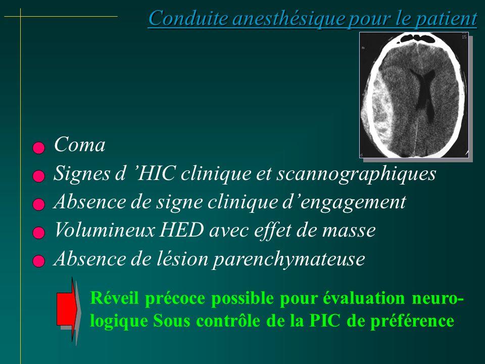 Conduite anesthésique pour le patient Coma Signes d HIC clinique et scannographiques Absence de signe clinique dengagement Volumineux HED avec effet d