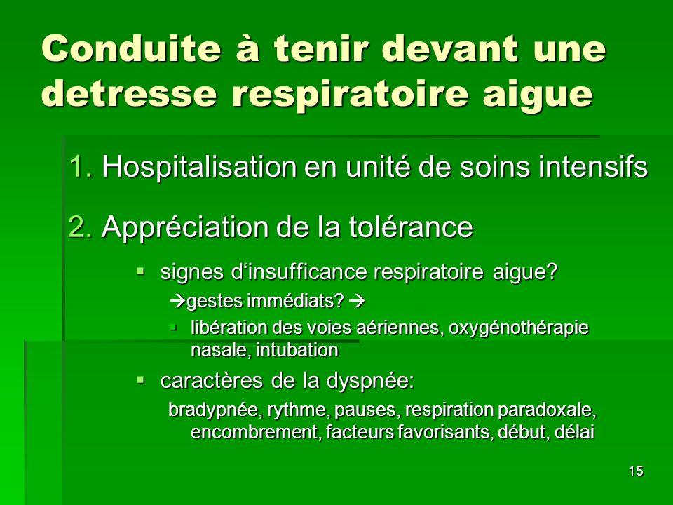 15 Conduite à tenir devant une detresse respiratoire aigue 1.Hospitalisation en unité de soins intensifs 2.Appréciation de la tolérance signes dinsuff