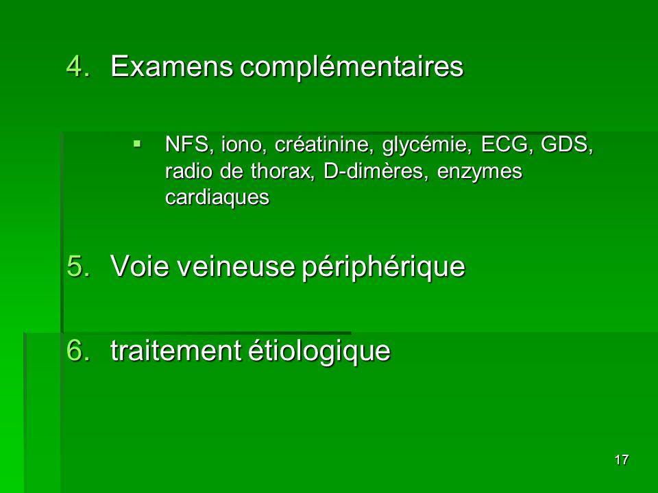 17 4.Examens complémentaires NFS, iono, créatinine, glycémie, ECG, GDS, radio de thorax, D-dimères, enzymes cardiaques NFS, iono, créatinine, glycémie