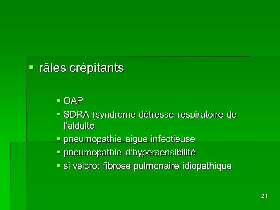 21 râles crépitants râles crépitants OAP OAP SDRA (syndrome détresse respiratoire de laldulte SDRA (syndrome détresse respiratoire de laldulte pneumop