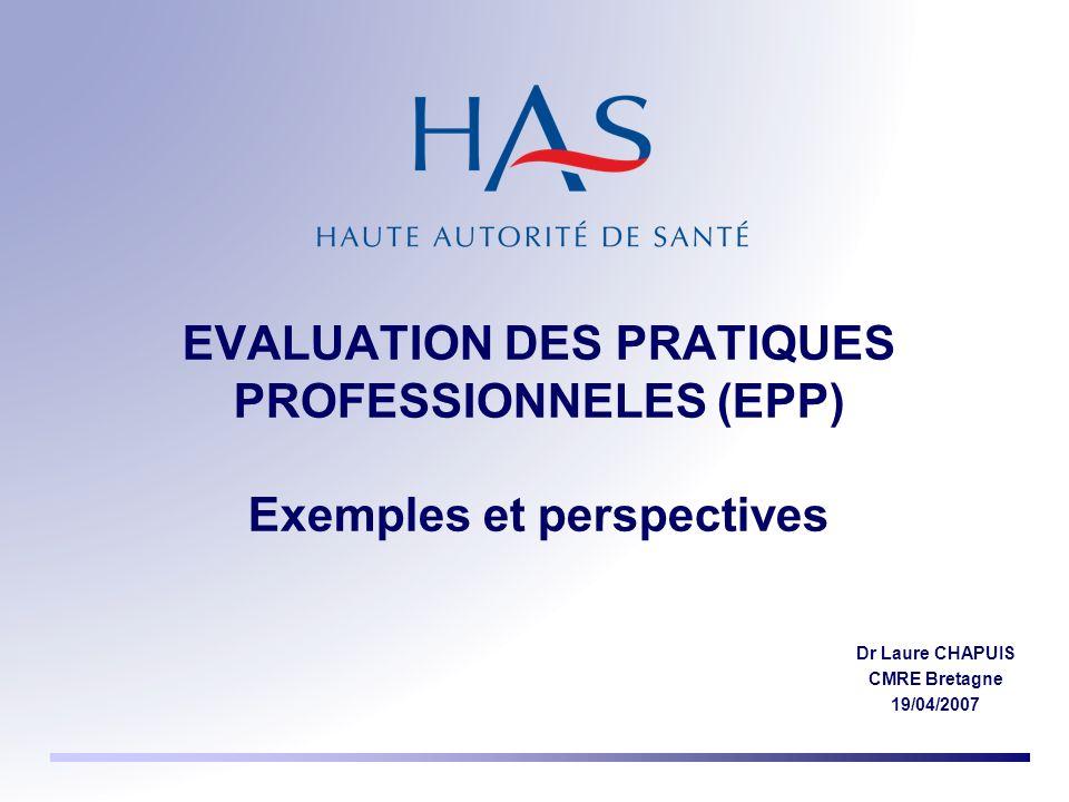 EVALUATION DES PRATIQUES PROFESSIONNELES (EPP) Exemples et perspectives Dr Laure CHAPUIS CMRE Bretagne 19/04/2007