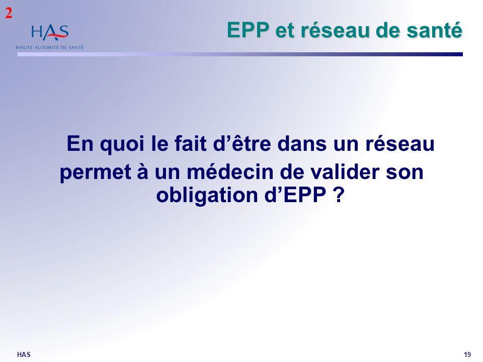HAS19 EPP et réseau de santé En quoi le fait dêtre dans un réseau permet à un médecin de valider son obligation dEPP ? 2