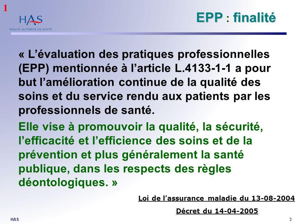 HAS3 EPPfinalité EPP : finalité « Lévaluation des pratiques professionnelles (EPP) mentionnée à larticle L.4133-1-1 a pour but lamélioration continue