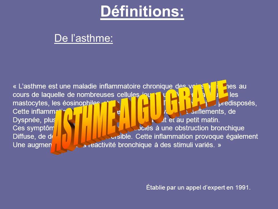 Définitions: De lasthme: « Lasthme est une maladie inflammatoire chronique des voies aériennes au cours de laquelle de nombreuses cellules jouent un r