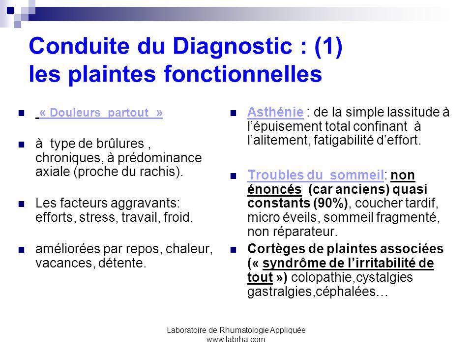 Laboratoire de Rhumatologie Appliquée www.labrha.com Conduite du Diagnostic : (1) les plaintes fonctionnelles « Douleurs partout » à type de brûlures, chroniques, à prédominance axiale (proche du rachis).
