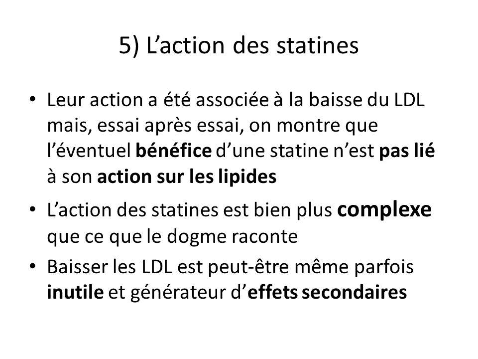 5) Laction des statines Leur action a été associée à la baisse du LDL mais, essai après essai, on montre que léventuel bénéfice dune statine nest pas lié à son action sur les lipides Laction des statines est bien plus complexe que ce que le dogme raconte Baisser les LDL est peut-être même parfois inutile et générateur deffets secondaires