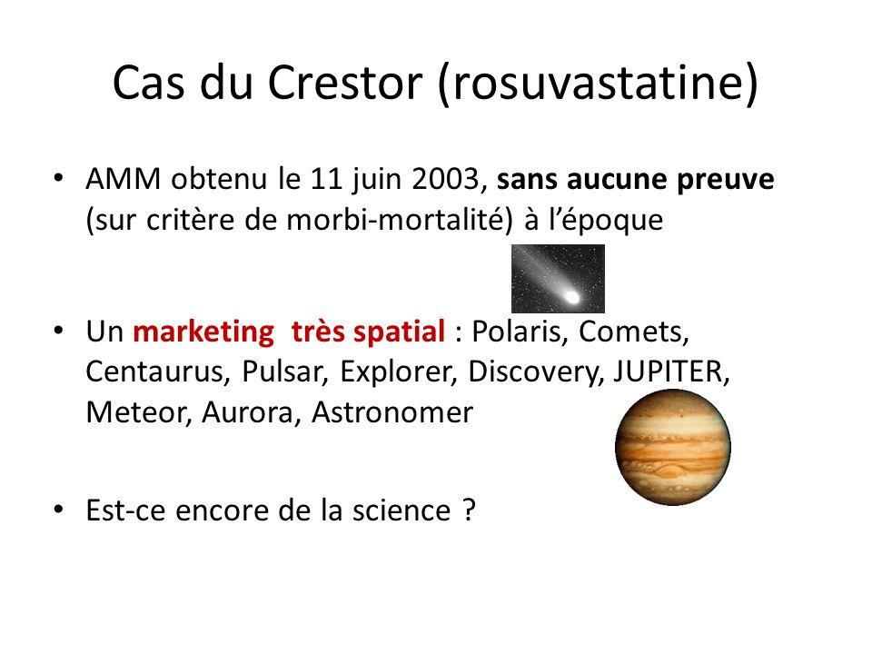 Cas du Crestor (rosuvastatine) AMM obtenu le 11 juin 2003, sans aucune preuve (sur critère de morbi-mortalité) à lépoque Un marketing très spatial : Polaris, Comets, Centaurus, Pulsar, Explorer, Discovery, JUPITER, Meteor, Aurora, Astronomer Est-ce encore de la science ?