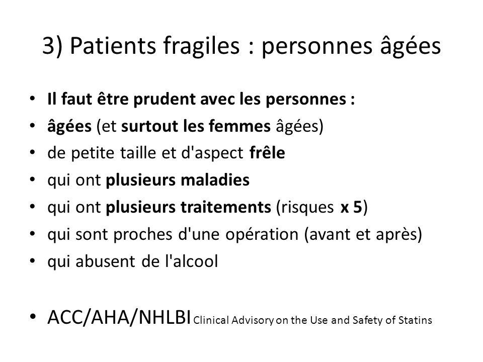 3) Patients fragiles : personnes âgées Il faut être prudent avec les personnes : âgées (et surtout les femmes âgées) de petite taille et d'aspect frêl