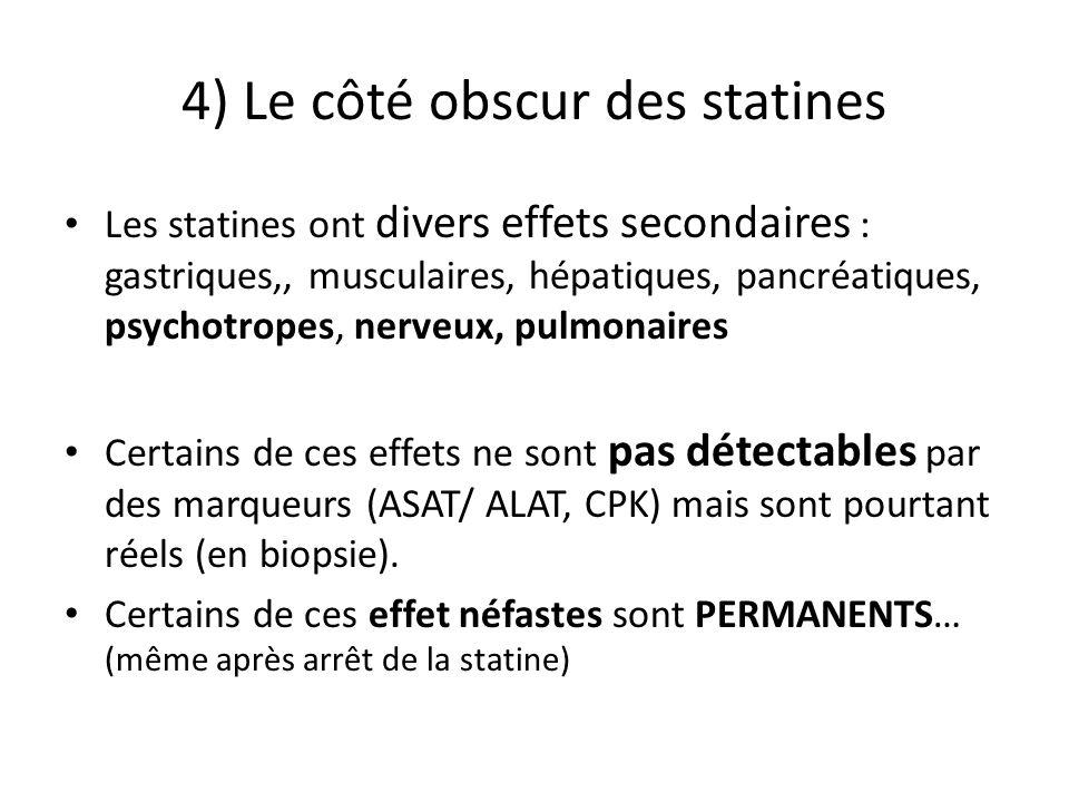 4) Le côté obscur des statines Les statines ont divers effets secondaires : gastriques,, musculaires, hépatiques, pancréatiques, psychotropes, nerveux, pulmonaires Certains de ces effets ne sont pas détectables par des marqueurs (ASAT/ ALAT, CPK) mais sont pourtant réels (en biopsie).