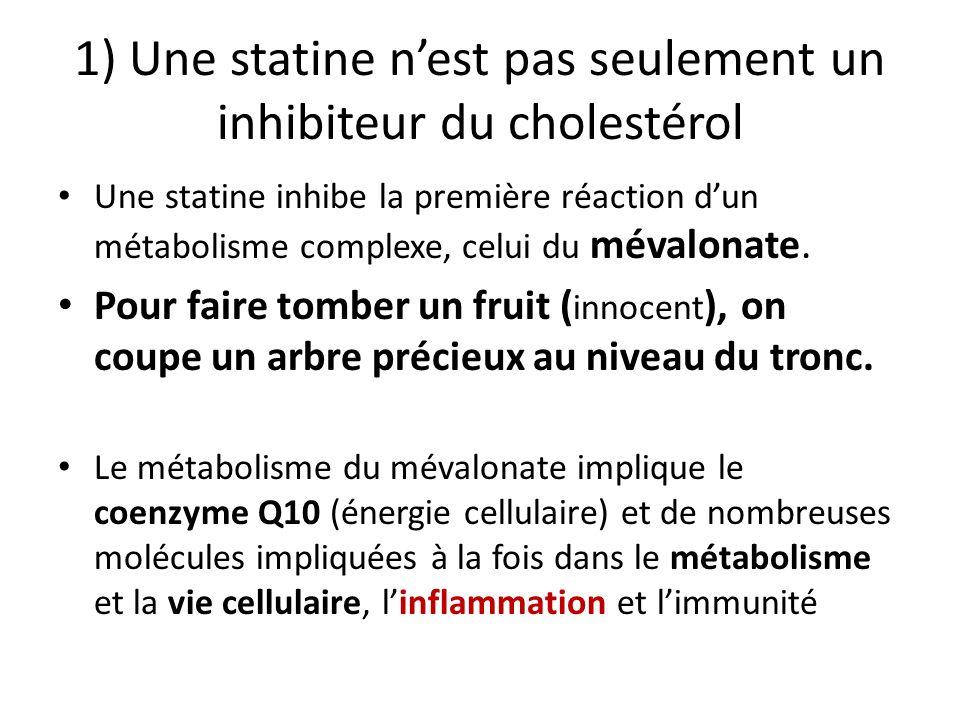 1) Une statine nest pas seulement un inhibiteur du cholestérol Une statine inhibe la première réaction dun métabolisme complexe, celui du mévalonate.