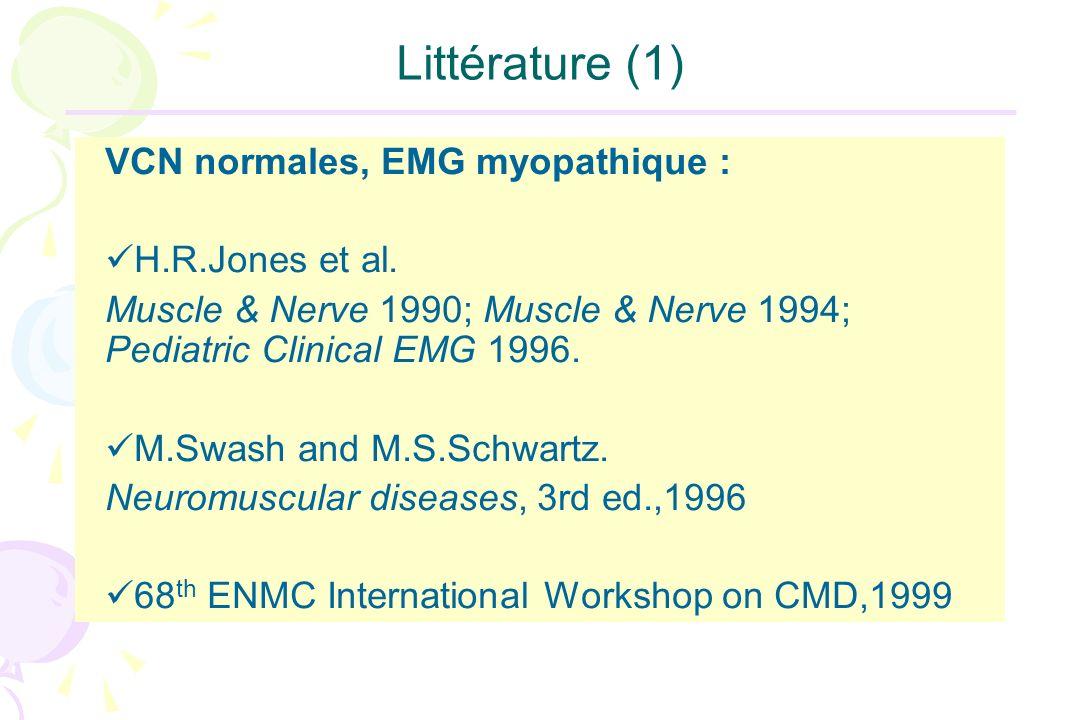 Littérature (1) VCN normales, EMG myopathique : H.R.Jones et al. Muscle & Nerve 1990; Muscle & Nerve 1994; Pediatric Clinical EMG 1996. M.Swash and M.