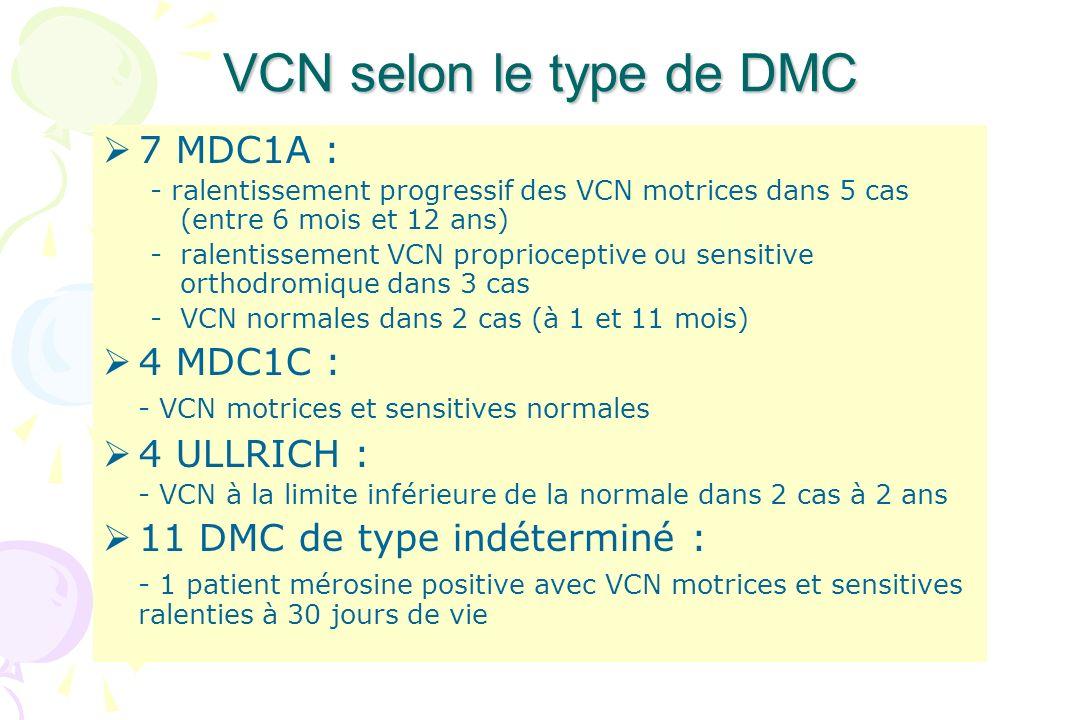 VCN selon le type de DMC 7 MDC1A : - ralentissement progressif des VCN motrices dans 5 cas (entre 6 mois et 12 ans) -ralentissement VCN proprioceptive