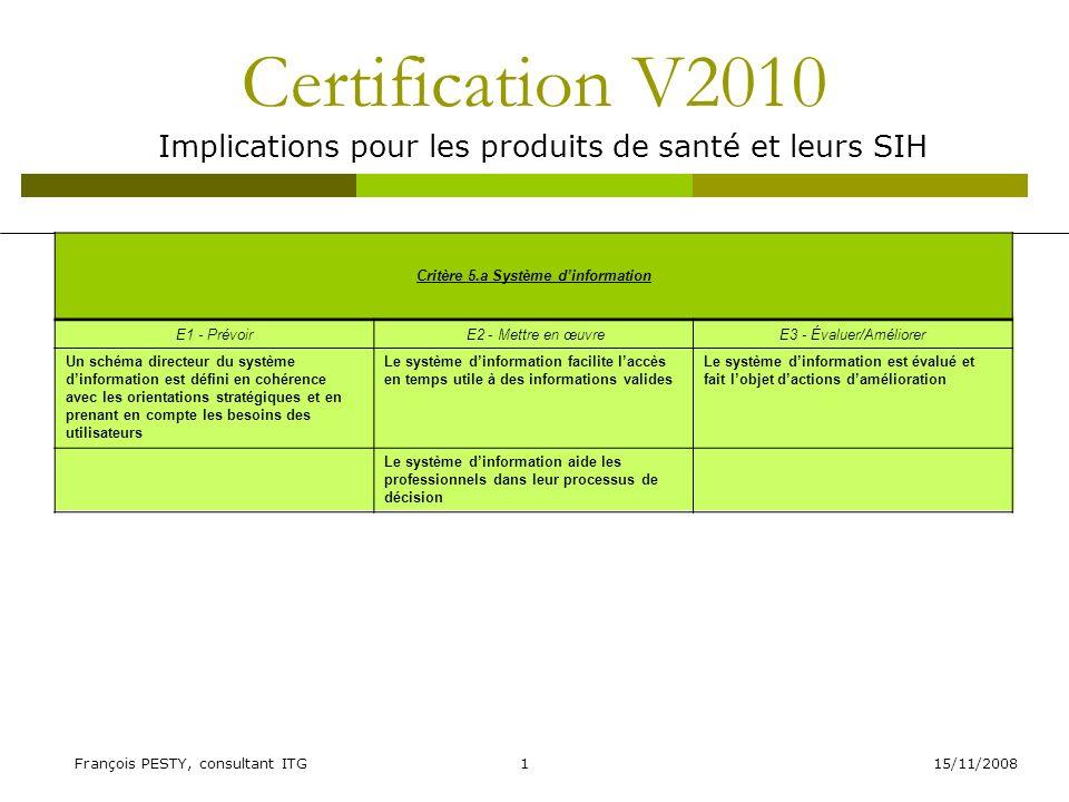 15/11/2008François PESTY, consultant ITG12 Certification V2010 Implications pour les produits de santé et leurs SIH Critère 23.a Éducation thérapeutique du patient E1 - Prévoir E2 - Mettre en œuvreE3 - Évaluer/Améliorer Les maladies ou situations nécessitant lélaboration dune démarche structurée déducation thérapeutique du patient (ETP) intégrée à sa prise en charge sont identifiées Des activités déducation thérapeutique impliquant les professionnels, les secteurs dactivité concernés et les représentants des patients sont mises en œuvre Lévaluation de lefficacité du dispositif dETP (patients, professionnels de santé) donne lieu à des actions damélioration Une coordination avec les professionnels extrahospitaliers et les réseaux est organisée Les professionnels de santé sont formés à la démarche dETP Des techniques et outils pédagogiques sont mis à disposition des professionnels de santé Des supports éducatifs sont mis à disposition des patients et de leur entourage par les professionnels au cours de la démarche éducative