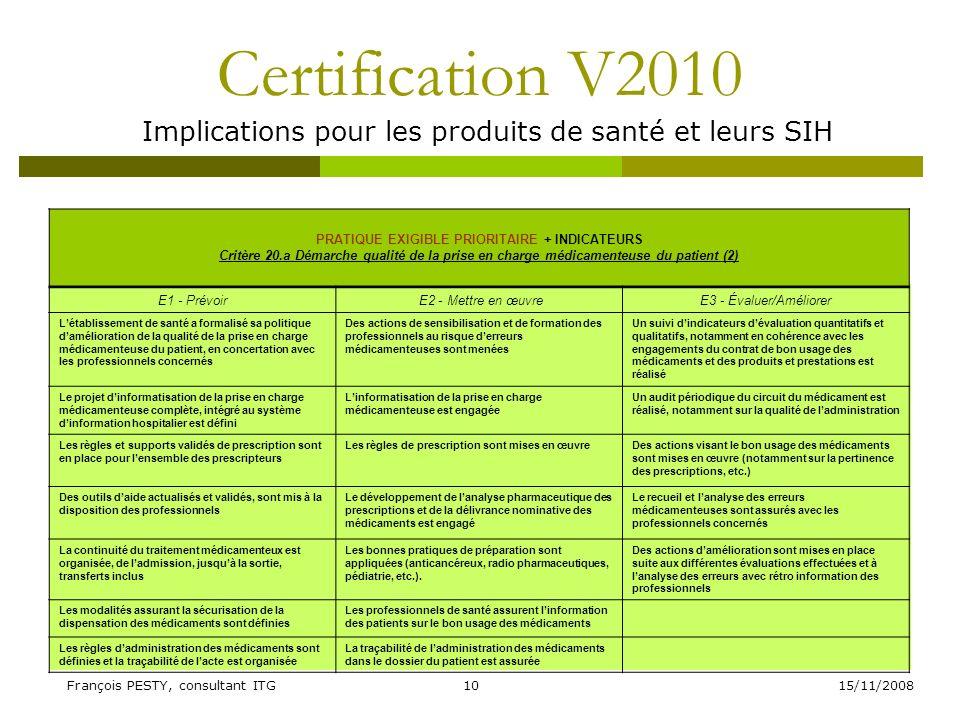 15/11/2008François PESTY, consultant ITG10 Certification V2010 Implications pour les produits de santé et leurs SIH PRATIQUE EXIGIBLE PRIORITAIRE + IN