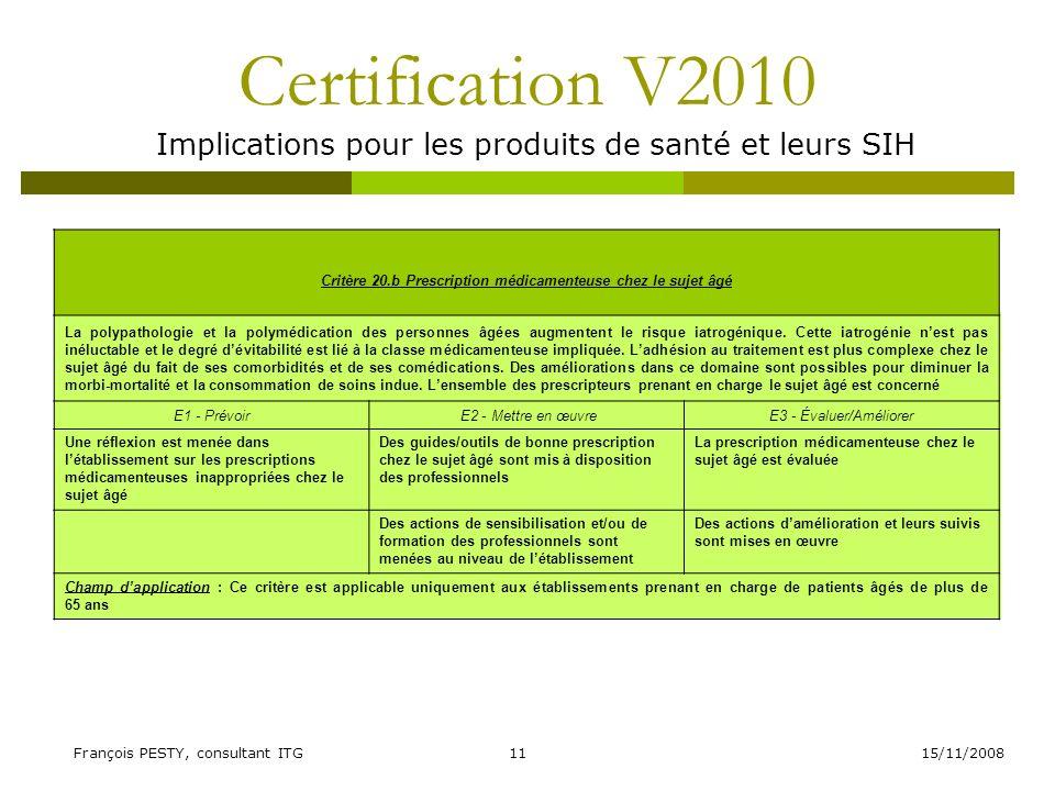 15/11/2008François PESTY, consultant ITG11 Certification V2010 Implications pour les produits de santé et leurs SIH Critère 20.b Prescription médicame