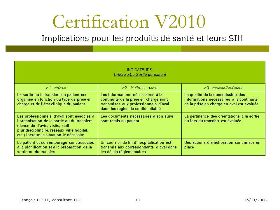 15/11/2008François PESTY, consultant ITG13 Certification V2010 Implications pour les produits de santé et leurs SIH INDICATEURS Critère 24.a Sortie du