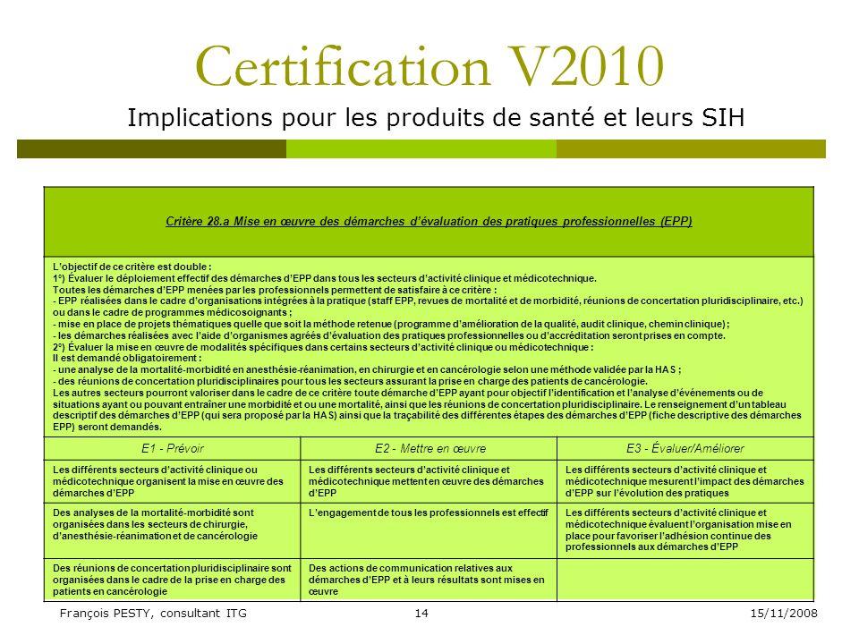 15/11/2008François PESTY, consultant ITG14 Certification V2010 Implications pour les produits de santé et leurs SIH Critère 28.a Mise en œuvre des dém