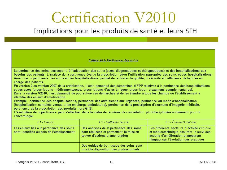 15/11/2008François PESTY, consultant ITG15 Certification V2010 Implications pour les produits de santé et leurs SIH Critère 28.b Pertinence des soins