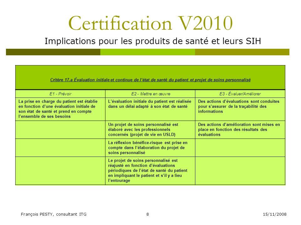 15/11/2008François PESTY, consultant ITG8 Certification V2010 Implications pour les produits de santé et leurs SIH Critère 17.a Évaluation initiale et