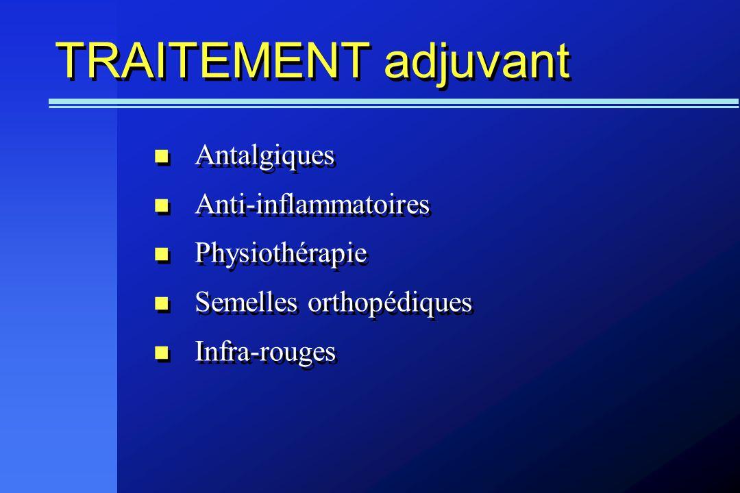 TRAITEMENT adjuvant Antalgiques Anti-inflammatoires Physiothérapie Semelles orthopédiques Infra-rouges Antalgiques Anti-inflammatoires Physiothérapie