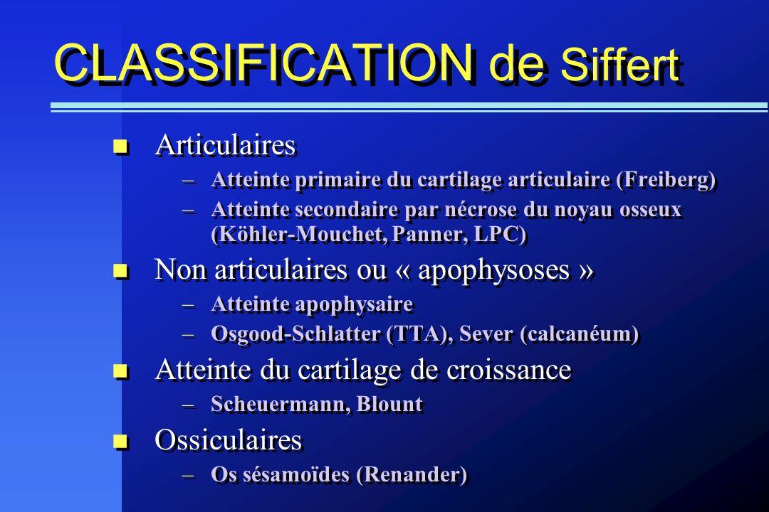 CLASSIFICATION de Siffert Articulaires –Atteinte primaire du cartilage articulaire (Freiberg) –Atteinte secondaire par nécrose du noyau osseux (Köhler