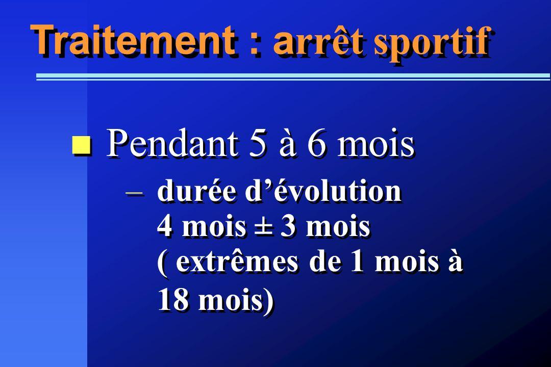 Traitement : a rrêt sportif Pendant 5 à 6 mois –durée dévolution 4 mois ± 3 mois ( extrêmes de 1 mois à 18 mois) Pendant 5 à 6 mois –durée dévolution