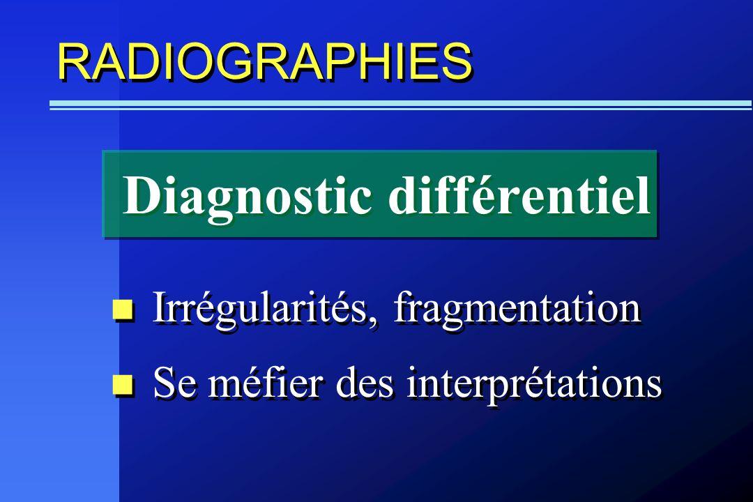 RADIOGRAPHIES Irrégularités, fragmentation Se méfier des interprétations Irrégularités, fragmentation Se méfier des interprétations Diagnostic différe