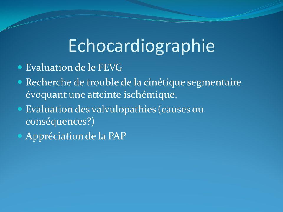 Echocardiographie Evaluation de le FEVG Recherche de trouble de la cinétique segmentaire évoquant une atteinte ischémique.