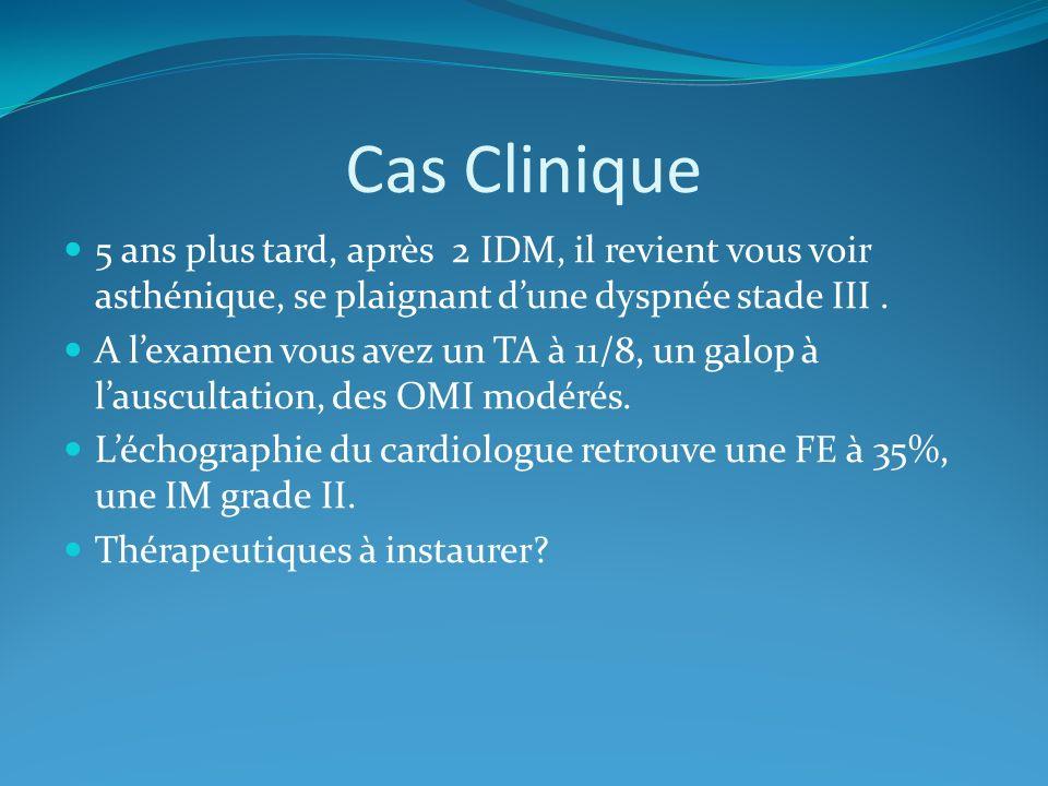 Cas Clinique 5 ans plus tard, après 2 IDM, il revient vous voir asthénique, se plaignant dune dyspnée stade III.