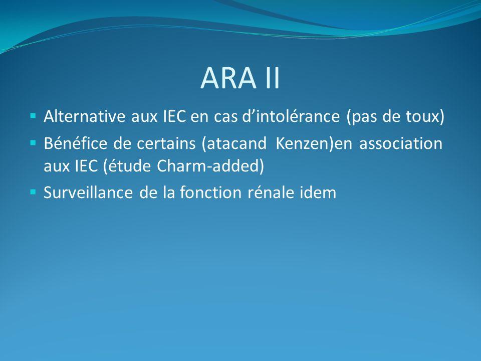 ARA II Alternative aux IEC en cas dintolérance (pas de toux) Bénéfice de certains (atacand Kenzen)en association aux IEC (étude Charm-added) Surveillance de la fonction rénale idem