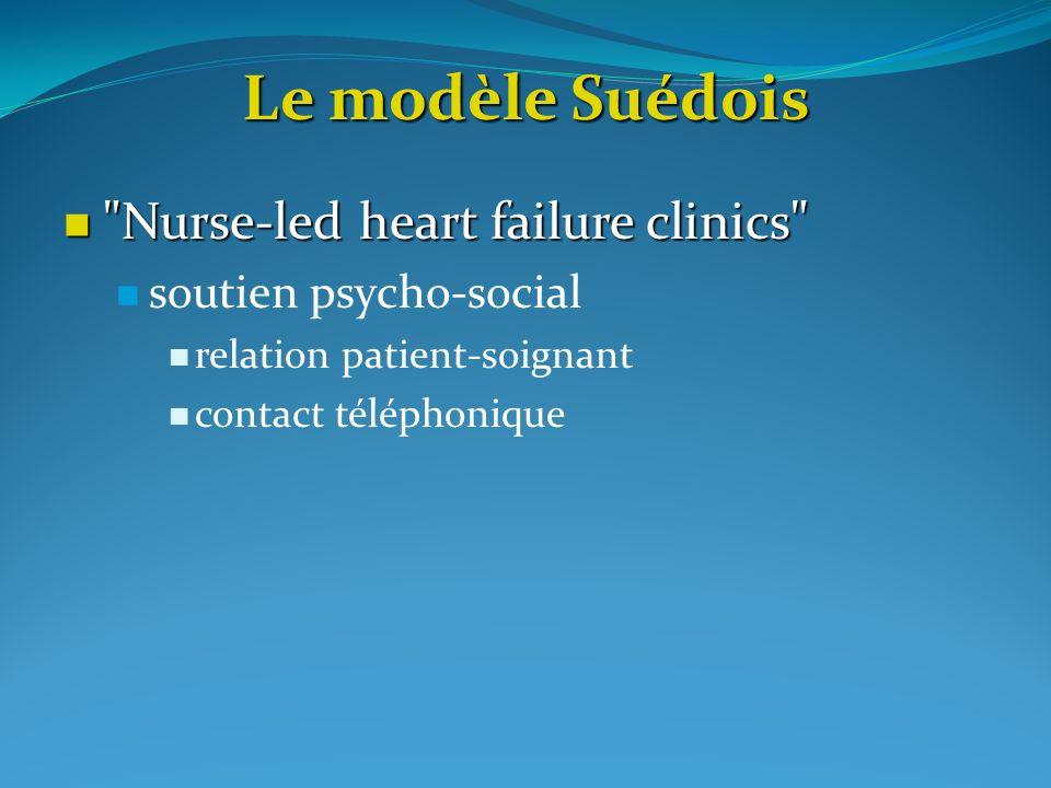 Le modèle Suédois Nurse-led heart failure clinics Nurse-led heart failure clinics soutien psycho-social relation patient-soignant contact téléphonique