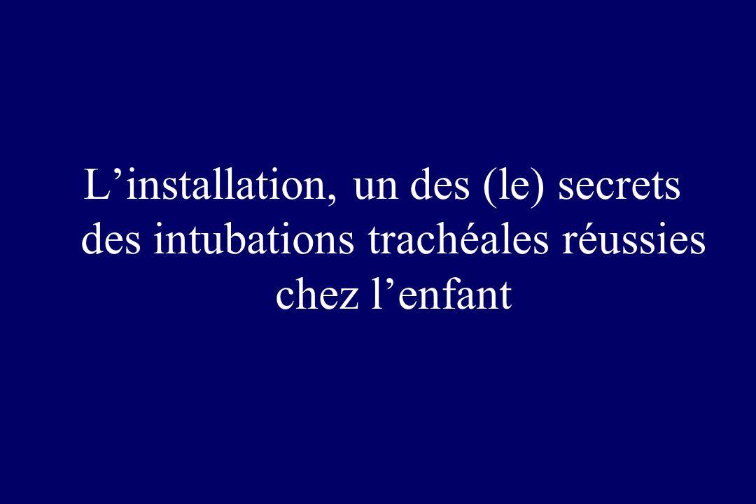 Linstallation, un des (le) secrets des intubations trachéales réussies chez lenfant