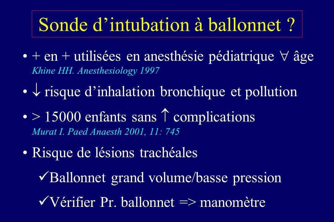 Sonde dintubation à ballonnet ? + en + utilisées en anesthésie pédiatrique âge Khine HH. Anesthesiology 1997 risque dinhalation bronchique et pollutio