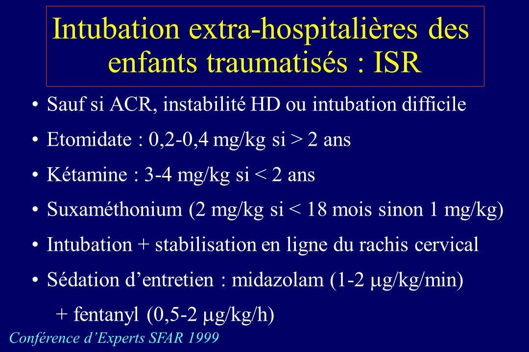 Intubation extra-hospitalières des enfants traumatisés : ISR Sauf si ACR, instabilité HD ou intubation difficile Etomidate : 0,2-0,4 mg/kg si > 2 ans