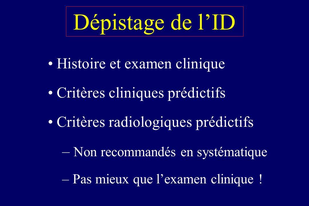 Dépistage de lID Histoire et examen clinique Critères cliniques prédictifs Critères radiologiques prédictifs – Non recommandés en systématique – Pas m