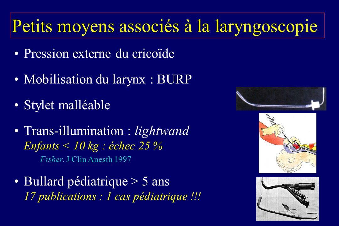 Petits moyens associés à la laryngoscopie Pression externe du cricoïde Mobilisation du larynx : BURP Stylet malléable Trans-illumination : lightwand E