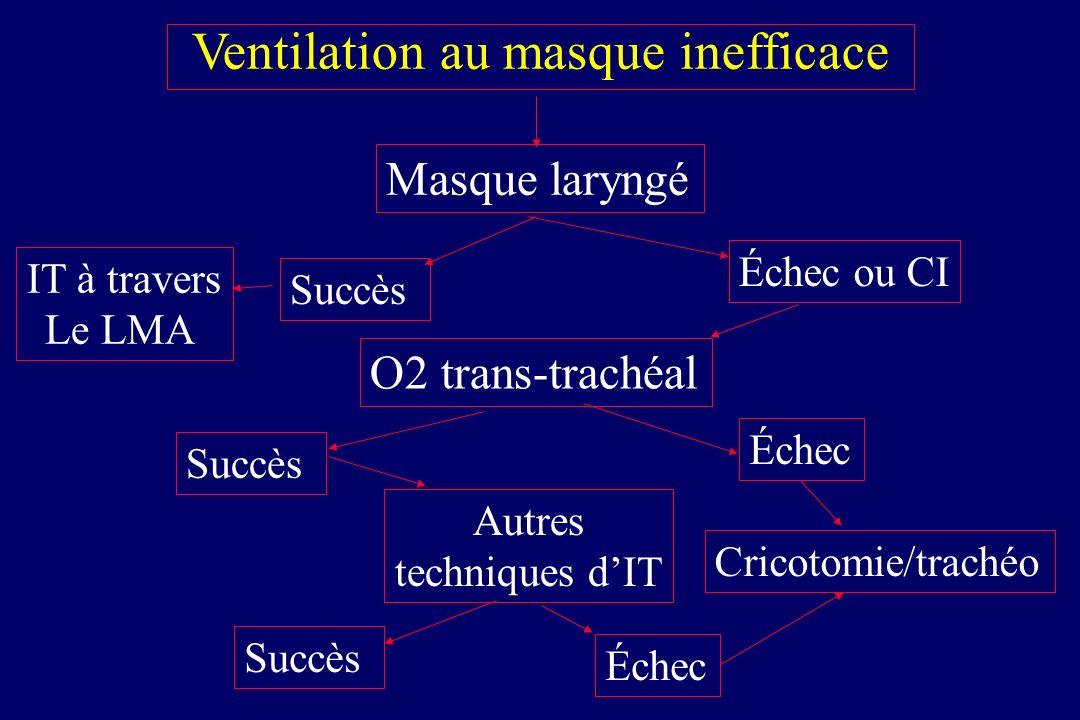 Masque laryngé Ventilation au masque inefficace Succès Échec ou CI O2 trans-trachéal Succès Autres techniques dIT Succès Cricotomie/trachéo Échec IT à